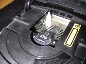 Close up mostrando o cartão SD inserido no Rhea.